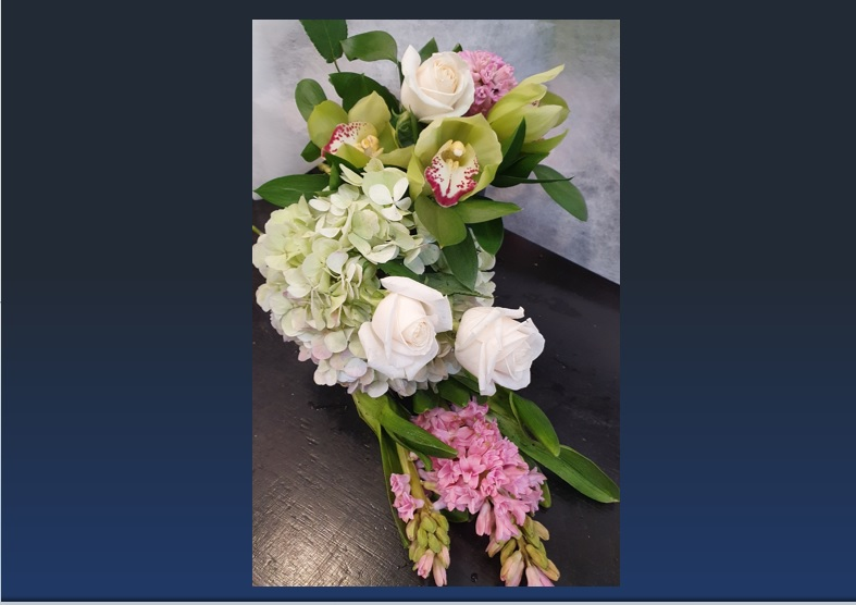 AFE - Pink Hyacinth arrangment image on Blue Wall - Jpeg